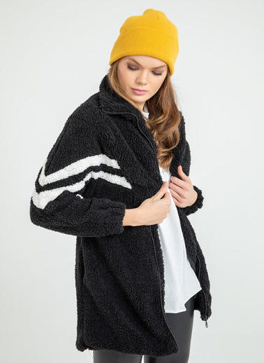 Foremia Peluş Şerit Detay Uzun Ceket Siyah